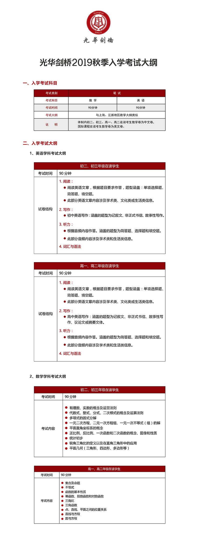 上海光华学院剑桥国际中心2019年秋季入学考试大纲