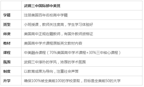 武钢三中国际部中美国际班招生简章
